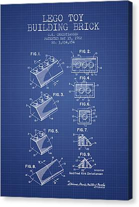 Kids Room Art Canvas Print - Lego Toy Building Brick Patent From 1962 - Blueprint by Aged Pixel