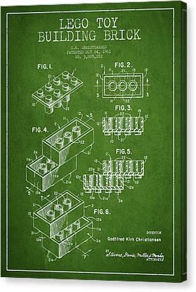 Lego Toy Building Brick Patent - Green Canvas Print
