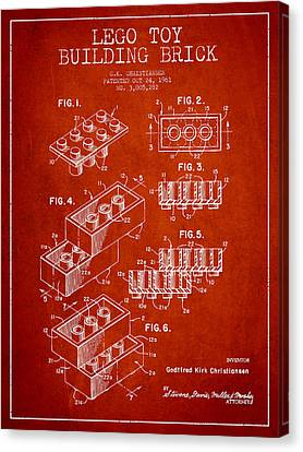 Lego Toy Building Brick Patent - Red Canvas Print by Aged Pixel