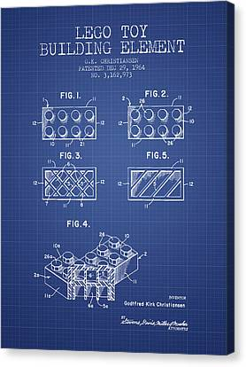 Lego Toy Building Element Patent From 1964 - Blueprint Canvas Print