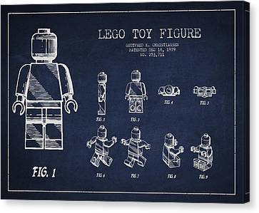 Kids Room Art Canvas Print - Lego Toy Figure Patent Drawing by Aged Pixel