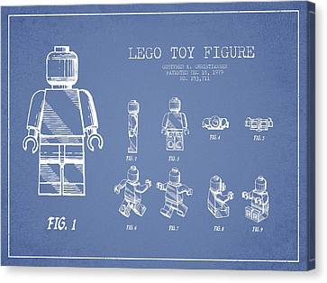 Kids Room Art Canvas Print - Lego Toy Figure Patent Drawing From 1979 - Light Blue by Aged Pixel