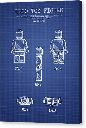 Lego Toy Figure Patent From 1979- Blueprint Canvas Print by Aged Pixel