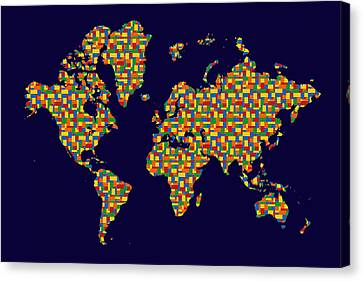 Building Blocks World Map Canvas Print by Andrew Fare