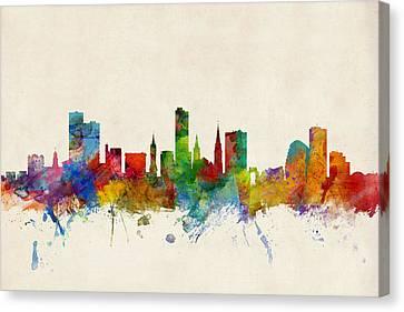 United Kingdom Canvas Print - Leicester England Skyline by Michael Tompsett