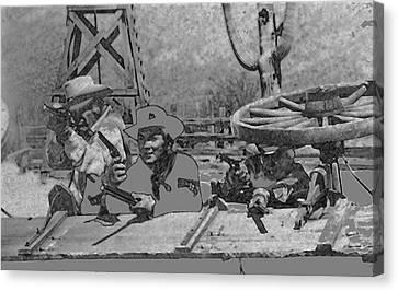 Leif Erickson Cameron Mitchell Mark Slade Attacking Apaches 2 High Chaparral Old Tucson 1969-2009 Canvas Print