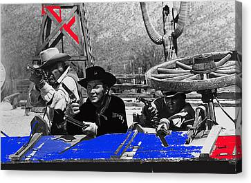Leif Erickson Cameron Mitchell  Mark Slade Number 1 The High Chaparral Set Old Tucson Az 1969 Canvas Print by David Lee Guss