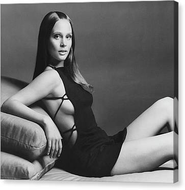 Leigh Taylor-young Wearing A Maggi Browning Dress Canvas Print