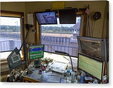 Leland Bowman Locks Control Room Canvas Print