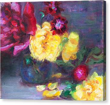 Lemon And Magenta - Flowers And Radish Canvas Print by Talya Johnson