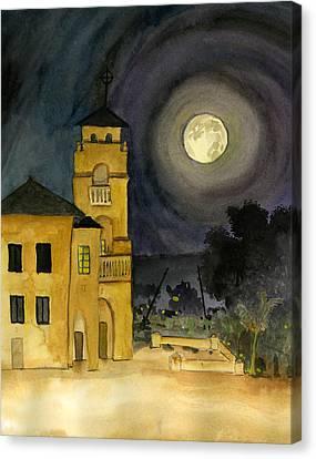 Lemon Grove Church By Full Moon Canvas Print
