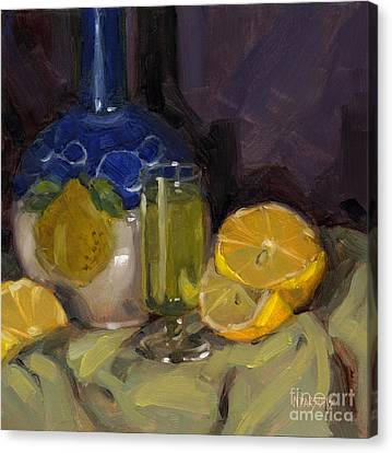 Canvas Print featuring the painting Lemon Light by Nancy  Parsons