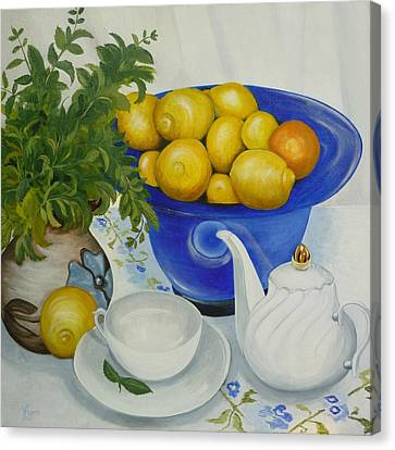 Canvas Print featuring the painting Lemon Tea by Helen Syron
