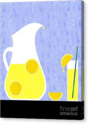 Lemons Canvas Print - Lemonade And Glass Blue by Andee Design