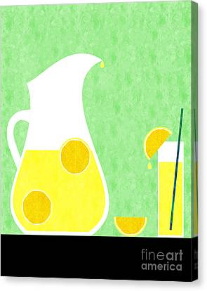 Lemonade And Glass Green Canvas Print by Andee Design