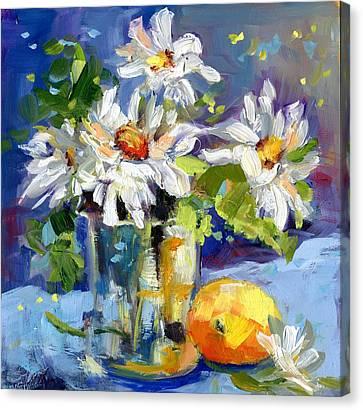 Lemonade Daisies Canvas Print by Sharon Furner