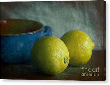 Iraq Canvas Print - Lemons And Blue Terracotta Pot by Elena Nosyreva