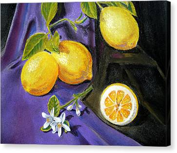 Lemons And Flowers Canvas Print by Irina Sztukowski