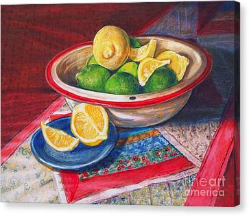 Lemons And Limes Canvas Print by Joy Nichols