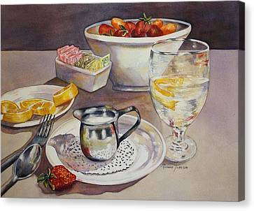Canvas Print featuring the painting Lemons And Things by Roxanne Tobaison