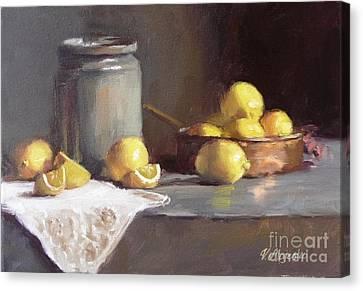 Lemons In Copper Pan  Canvas Print