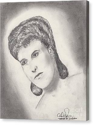 Canvas Print featuring the drawing Lena Horne by David Jackson