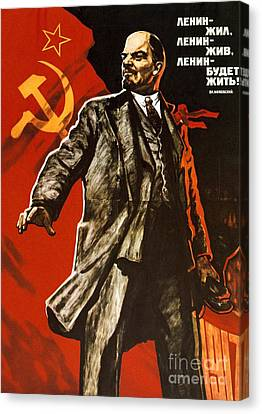 Communism Canvas Print - Lenin Lived Lenin Lives Long Live Lenin by Viktor Semenovich Ivanov
