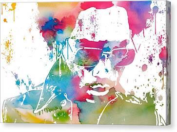 Lenny Kravitz Paint Splatter Canvas Print by Dan Sproul