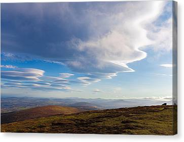 Lenticular Clouds Forming In Wicklow Mountains Canvas Print