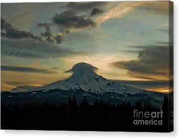 Lenticular Sunset On Mount Hood Canvas Print by Cari Gesch