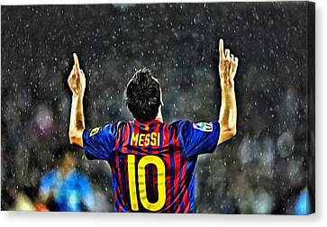 Leo Messi Poster Art Canvas Print by Florian Rodarte
