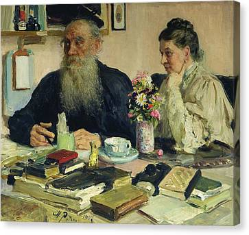 Leo Tolstoy With His Wife In Yasnaya Polyana Canvas Print by Ilya Efimovich Repin