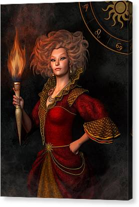 Leo Zodiac Sign Canvas Print by Britta Glodde
