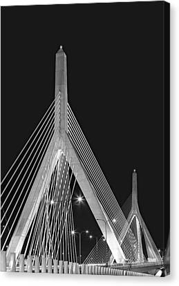 Leonard P. Zakim Bunker Hill Memorial Bridge Bw II Canvas Print by Susan Candelario