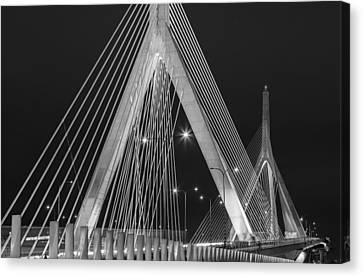 Leonard P. Zakim Bunker Hill Memorial Bridge Bw Canvas Print by Susan Candelario