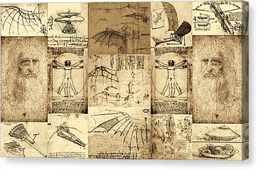 Leonardo Da Vinci Invention Sketches Poster Canvas Print