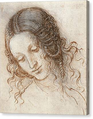 Leonardo Head Of Woman Drawing Canvas Print by