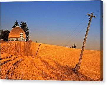 Leonards Round Barn Canvas Print by Latah Trail Foundation