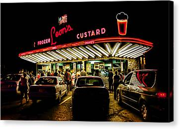 Late Canvas Print - Leon's Frozen Custard by Scott Norris