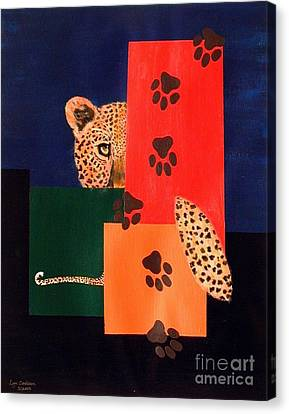 Leopard And Paws Canvas Print