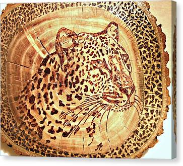 Leopard Canvas Print by Art  Pyrography