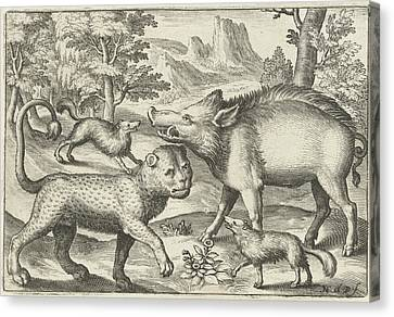 Leopard, Boar, And Two Dogs, Nicolaes De Bruyn Canvas Print