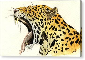 Leopard Head Canvas Print by Juan  Bosco
