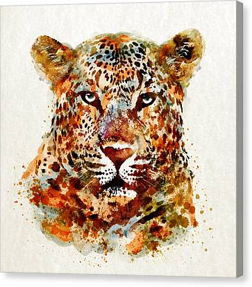 Leopard Head Watercolor Canvas Print by Marian Voicu