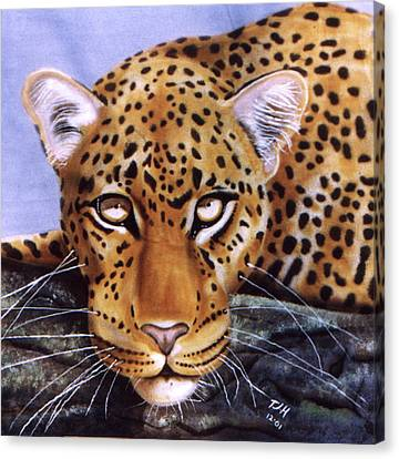 Canvas Print featuring the painting Leopard In A Tree by Thomas J Herring