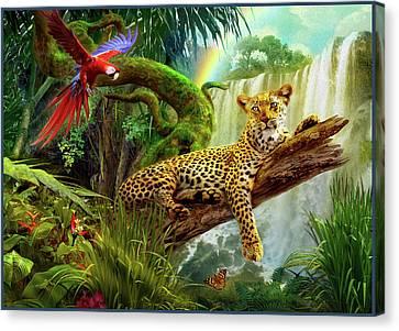 Leopard In Tree Canvas Print