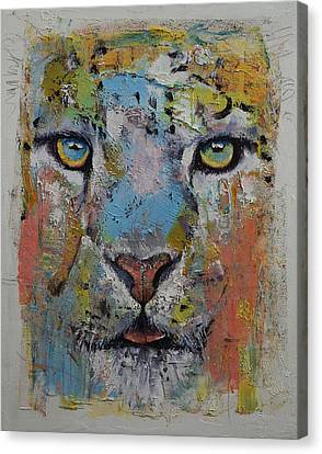 Snow Leopards Canvas Print - Leopard by Michael Creese