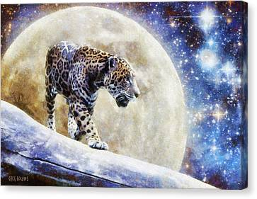 Canvas Print featuring the painting Leopard Moon by Greg Collins