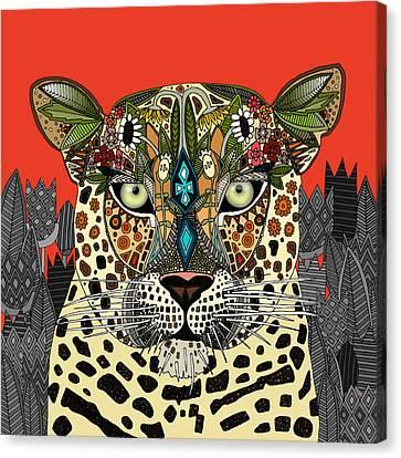 Leopard Queen Coral Canvas Print
