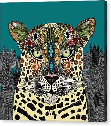 Leopard Queen Teal Canvas Print by Sharon Turner